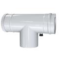 Trójnik rewizyjny 90° z odskraplaczem dwuścienny MKPS Invest MK ŻARY  Ø 80/125mm biały