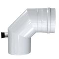 Kolano 90° z odskraplaczem i króćcem pomiarowym dwuścienne MKPS Invest MK ŻARY  Ø 80/125mm biały