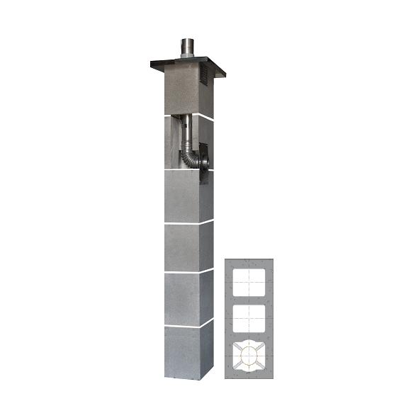 System Kominowy Stalowy JAWAR KS Ø  80mm z wentylacją 2-kanałową