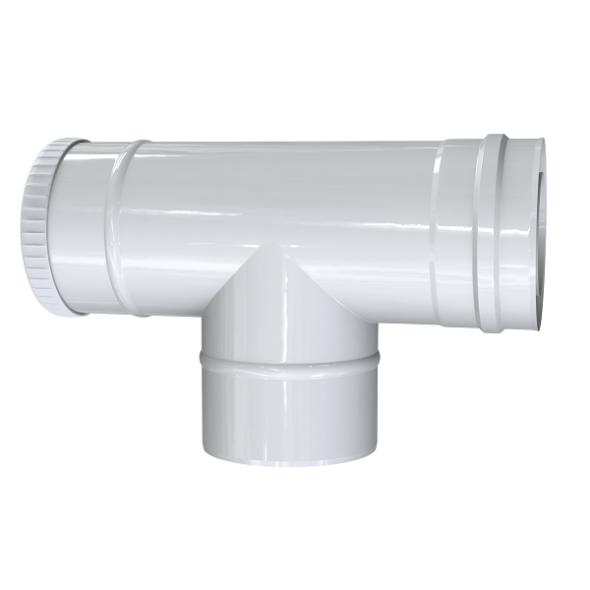 Trójnik rewizyjny 90° dwuścienny MKPS Invest MK ŻARY  Ø 80/125mm biały