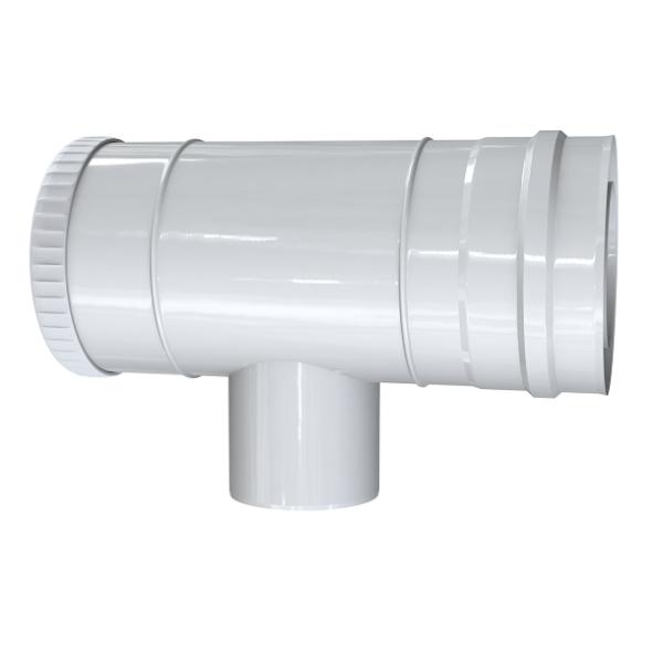 Trójnik rewizyjno-redukcyjny 87° dwuścienny MKPS Invest MK ŻARY  Ø 60/100 - 80/125mm biały