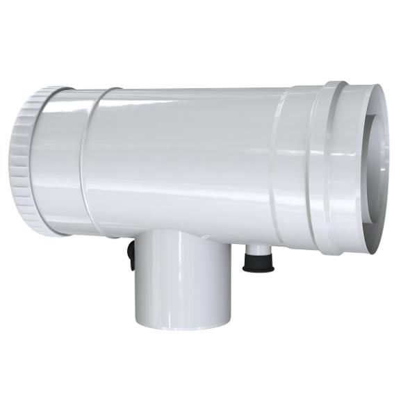 Trójnik rewizyjno-redukcyjny 87° z odskraplaczem i króćcem pomiarowym MKPS Invest MK ŻARY  Ø 60/100 - 80/125mm biały
